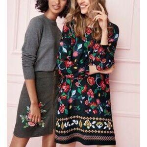 LOFT • Black Floral Print A-Line Midi Dress